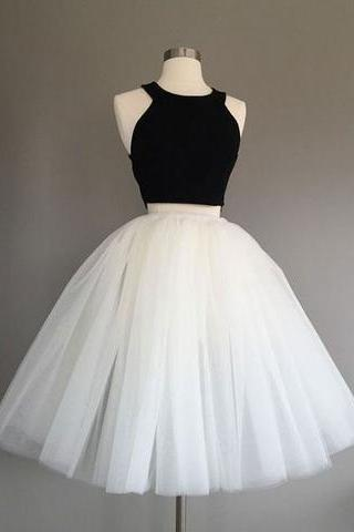 Simple two pieces black and white short prom dress, white homecoming dress