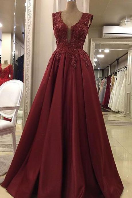 Burgundy v neck lace long prom dress, evening dress