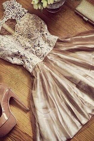 Cute customize vintage short prom dress for teens,champagne lace evening dress,homecoming dresses