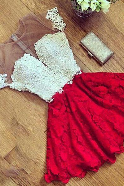 Charming white+red lace mini prom dress,Homecoming dress,graduation dress for teens