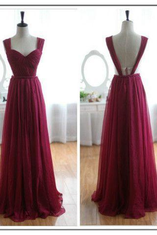 Prom dress,maroon prom dresses,A-line chiffon backless bridesmaid dresses,evening dresses,formal dress