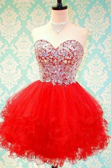 Cute red homecoming dress,sweetheart tulle short prom dress,mini dresses,red dress