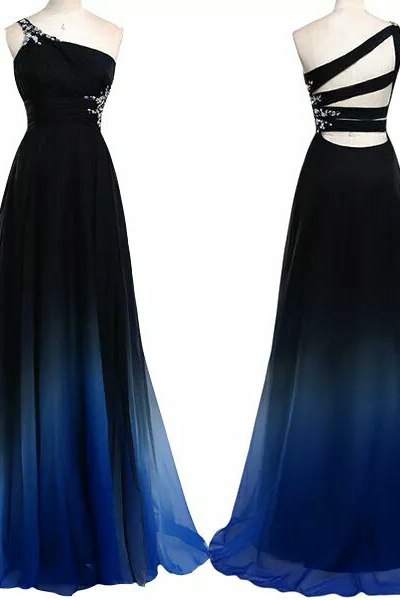 One shoulder sleeveless prom dress for women, gradual change noble rhinestone long evening gowns,formal dresses