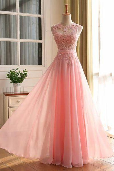 Pink lace long prom dresses,elegant A-line lace long evening dresses,pink formal dress,fashion dress for teens
