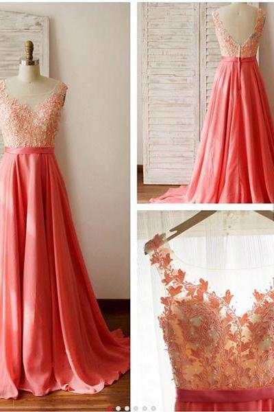 Stylish lace prom dresses,A-line watermelon red lace chiffon long evening dress, formal dresses,grad dresses