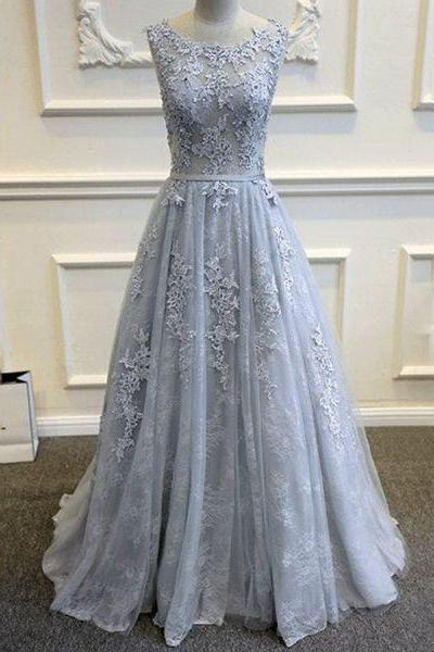 Custom made gray lace long prom dress,evening dress,formal gown