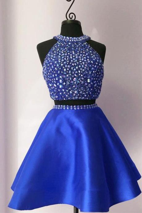 Stylish A-line two pieces beading short prom dress,evening dress,homecoming dresses