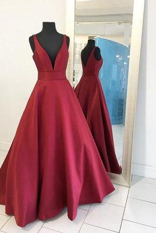 Custom Made Red Plunging V-Neckline Long A-Line Satin Evening Dress, Prom Dress, Wedding Dress, Bridesmaid Dresses