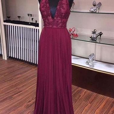 Burgundy A line lace long prom dress, burgundy evening dress,woman dress